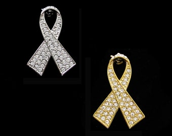 Crystal Clear White Ribbon Bow Lung Cancer Awareness Brooch Pin Silver Tone Gold Tone