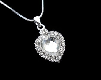 Crystal Heart Pendant Charm Necklace Silver Tone Clear With 10mm Heart Clear