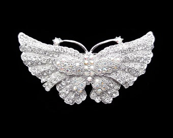 Crystal Butterfly Barrette Hair Clip Accessory Silver Tone Clear Clear AB