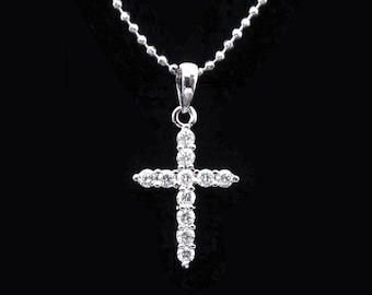 Cubic Zirconia CZ Round Crystal Small Cross Pendant Charm Chain Necklace Silver Tone Clear