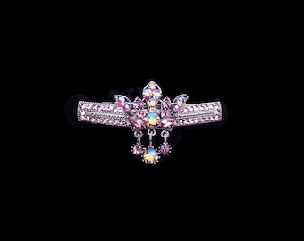 Crystal Crown With Dangling Drops Barrette Hair Clip Antique Silver Tone Lavender