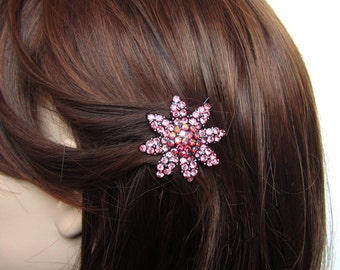 Crystal Daisy Flower Hair Accessory Jewelry Barrette Clip Black Tone Pink