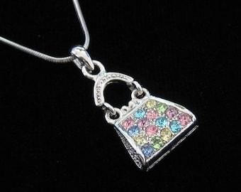 Crystal Purse Handbag Pendant Charm Chain Necklace Silver Tone Multi
