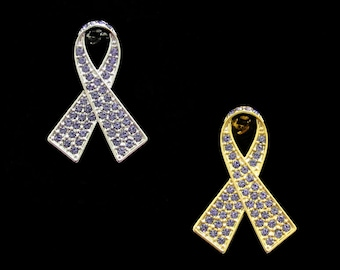 Crystal Periwinkle Ribbon Bow Stomach Cancer Esophageal Cancer Eating Disorders Awareness Brooch Pin Silver Tone Gold Tone