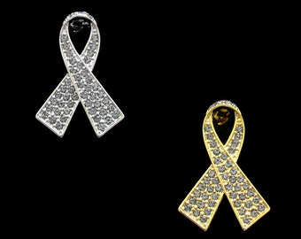 Crystal Gray Grey Ribbon Bow Brain Cancer Tumor Diabetes Asthma Awareness Brooch Pin Silver Tone Gold Tone