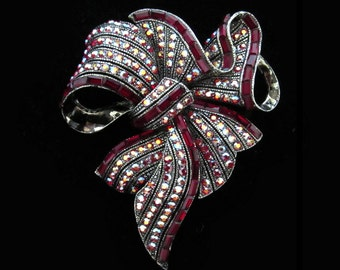 Crystal Large Burgundy Red Ribbon Bow Brooch Pin Antique Silver Tone Wedding Bridal Bride Accessory Jewelry Christmas Mother's Day Gift