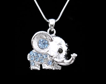 Crystal Elephant Pendant Charm Chain Necklace Silver Tone Blue