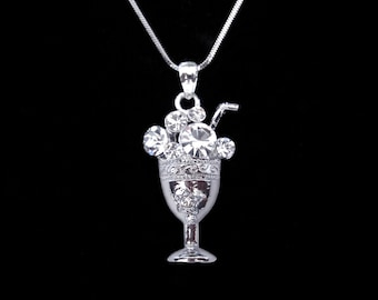 Crystal Parfait Drink Cocktail Glass Pendant Charm Chain Necklace Silver Tone Clear