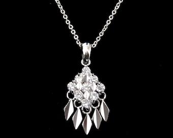 Cubic Zirconia CZ Rhombus Square Diamond Shape Pendant Charm Chain Necklace Silver Tone Clear