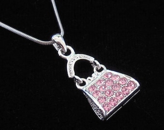 Crystal Purse Handbag Pendant Charm Chain Necklace Silver Tone Pink