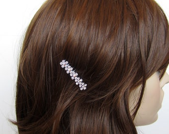 Crystal Small Flowers Hair Accessory Jewelry Comb Clip Black Tone Wedding Bridal Bridemaid Clear Clear AB