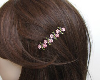 Crystal Small Flowers Hair Accessory Jewelry Comb Clip Antique Silver Tone Wedding Bridal Bridemaid Olive Green Pink Pink AB