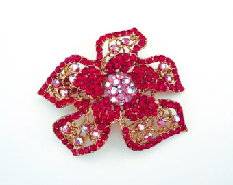 Crystal Flower Hair Accessory Barrette Clip Gold Tone Red