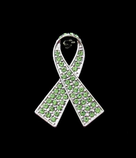 Crystal Lime Green Ribbon Bow Non-Hodgkin Lymphoma Cancer Lyme Disease  Awareness Brooch Pin Silver Tone Gold Tone