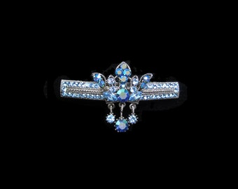 Crystal Crown With Dangling Drops Barrette Hair Clip Antique Silver Tone Blue