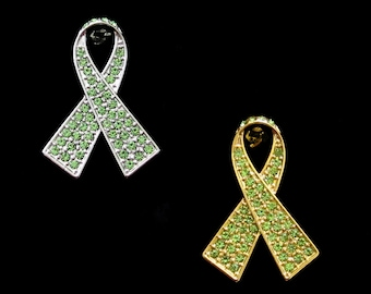 Crystal Lime Green Ribbon Bow Non-Hodgkin Lymphoma Cancer Lyme Disease Awareness Brooch Pin Silver Tone Gold Tone