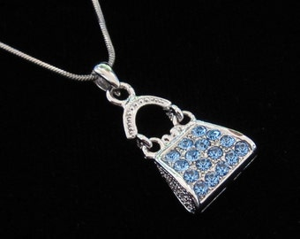 Crystal Purse Handbag Pendant Charm Chain Necklace Silver Tone Blue
