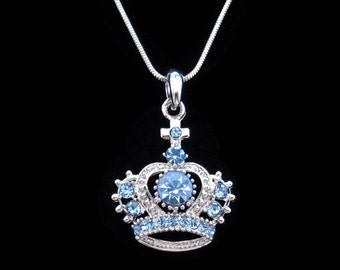 Crystal Crown Tiara Royal Princess King Queen Pendant Charm Necklace Silver Tone Blue