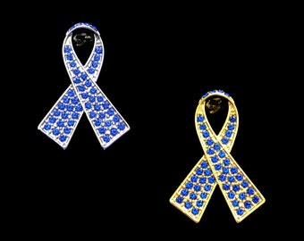 Crystal Blue Ribbon Bow Colon Cancer Child Abuse Pro-Choice Huntington's Disease Awareness Brooch Pin Silver Tone Gold Tone