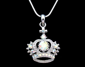 Crystal Crown Tiara Royal Princess King Queen Pendant Charm Necklace Silver Tone Clear AB
