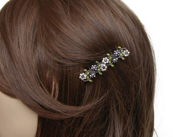 Crystal Small Flowers Hair Accessory Jewelry Comb Clip Antique Silver Tone Wedding Bridal Bridemaid Olive Green Grey Gray Hematite Black