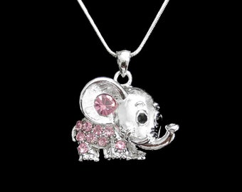 Crystal Elephant Pendant Charm Chain Necklace Silver Tone Pink