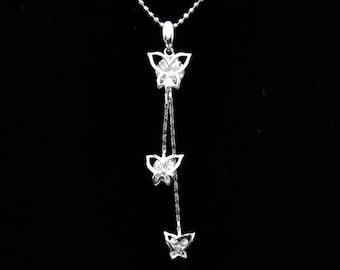 Cubic Zirconia CZ Crystal Triple Butterfly Pendant Charm Chain Necklace Silver Tone Clear