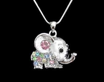Crystal Elephant Pendant Charm Chain Necklace Silver Tone Multi Color