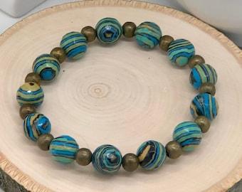 Unisex beaded bracelet, blue beaded bracelet, round beaded bracelet, layering bracelet, casual jewelry, friendship bracelet, unisex jewelry