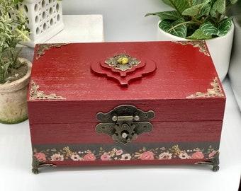 Deep Red Victorian Keepsake Box