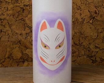Wolf Japanese Kitsune lamp - Wolf lamp - Wolf painting lantern shoji washi lamp from Japan
