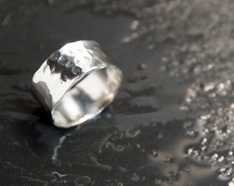 Hammered Silver Mens Ring