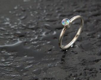 Vintage Light Blue Sapphire AB Swarovski Crystal & Sterling Silver Stacker Ring