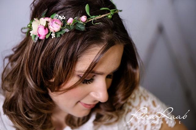 Blumenkranz Bluten Braut Frisur Hochzeit Boho A25