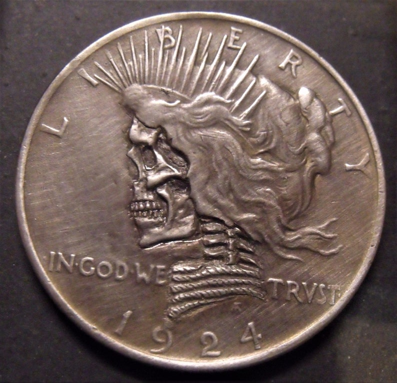 Silver Dollar Liberty Hand Carved Hobo nickel coin skull zombie