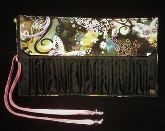 Butterfly Makeup Paint Brush Roll, Brush organizer, Pencil Holder