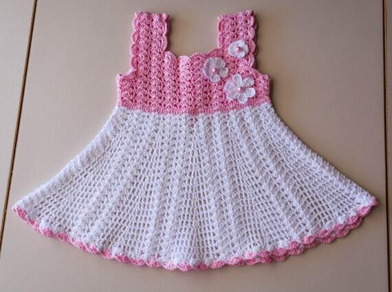 Häkeln Sie Weiß Und Rosa Baby Kleid Baby Taufe Kleid Etsy