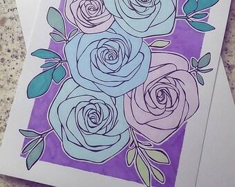 Roses & Leaves Original Marker Pen Ink Drawing Illustration A5 Size