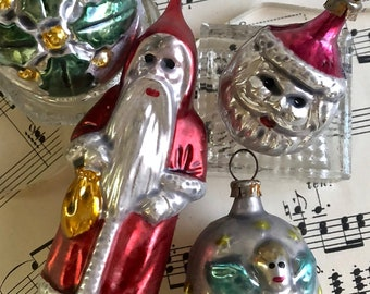 1940s german antique christmas ornaments clip on santa feather tree ornament