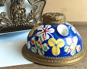 Porcelain Inkwell with Brass Repousse Lid, Lidded Ink well, Vintage Ink Pot