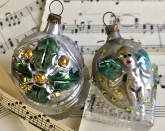 1940s german antique christmas ornaments feather tree ornament glass angel holly bulb - Antique Christmas Decorations