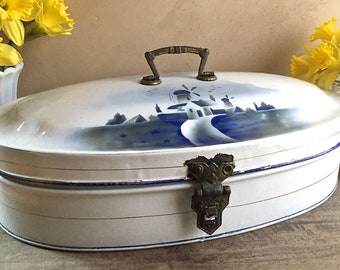 Large Enameled Bread Box with Dutch Holland Windmill Scenic, Blue and White Enamel Ware