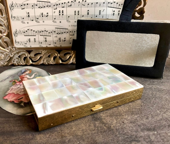 Marhill Mother Of Pearl Compact Wristlet Purse Clutch, Art Deco Mop Powder Lipstick Cigarette Case by Etsy