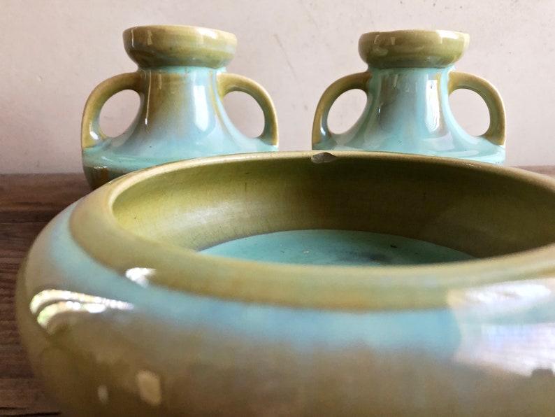 Arts Crafts Pottery FULPER Pottery Low Bowl Crystalline Jade Green