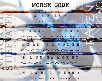 The Gangsey – Set of Five The Raven Cycle Characters Morse Code Bracelets – Silver / Gold – Custom Options Available