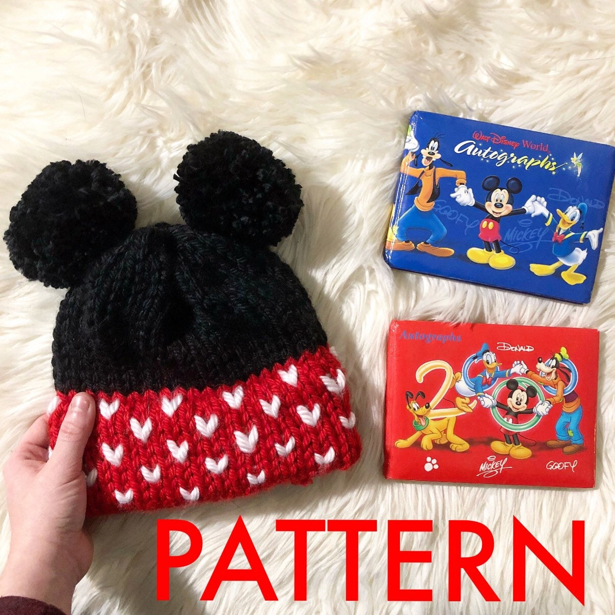 Minnie mouse knit hat pattern | knitting pattern | knit double brim ...