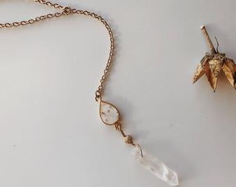 Gold Plated Speckled Druzy Crystal Quartz Lariat Necklace