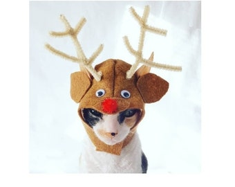 97da63e55f388 Rudolph the Red Nosed Reindeer in soft brown felt with adorable antlers and  red tinsel pom nose for cats small pets and small dogs