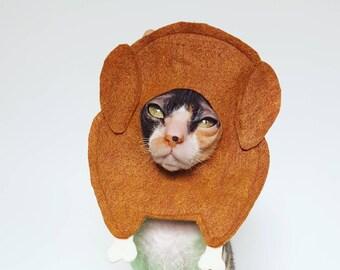 Turkey cat and small pet hat thanksgiving felt costume & Turkey costume cat | Etsy