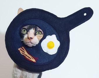 Breakfast Pan Egg and Bacon Cat Costume Hat in lightweight felt for cats small pets and small dogs